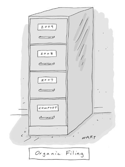 """Organic Filing. A file cabinet has drawers that read from top to bottom, """"? - New Yorker Cartoon-Kim Warp-Premium Giclee Print"""