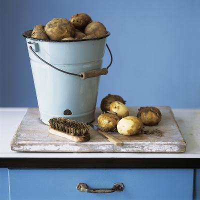 Organic Potatoes in Bucket and on Chopping Board; Brush; Knife-Michael Paul-Photographic Print
