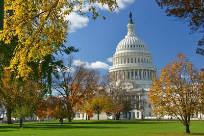 United States Capitol Building in Washington Dc, during Fall Season