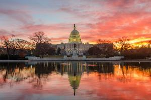Washington Dc, Capitol Building in a Cloudy Sunrise with Mirror Reflection by Orhan