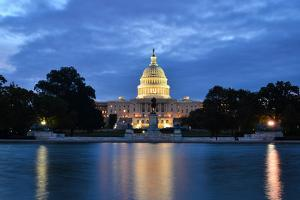 Washington Dc, US Capitol Building in a Cloudy Sunrise with Mirror Reflection by Orhan