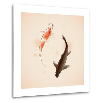 Yin Yang Koi Fishes In Oriental Style Painting