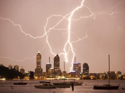 Lightning Storm over Perth Skyline from Matilda Bay