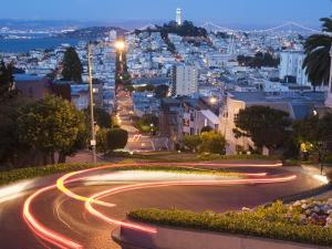 Vehicles Leave Colourful Light Trails at Dusk on Lombard Street by Orien Harvey