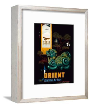 Orient - Philippine Air Lines PAL - Chinese Mythological Jade Carving - DC-68 DC-6-Walther-Boland-Framed Art Print