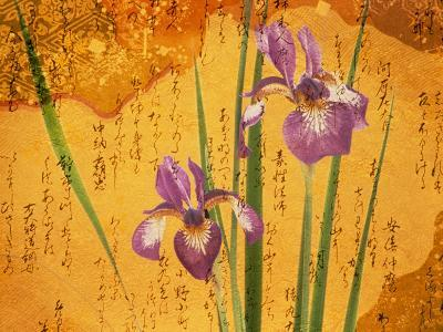 Oriental Batik Style Purple Bearded Iris and Green Leaves on Mottled Gold Background--Photographic Print