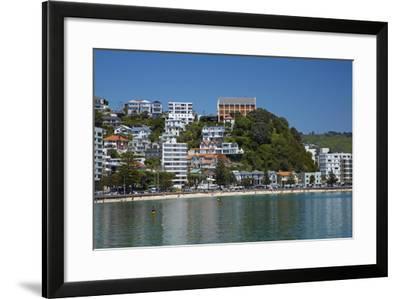 Oriental Bay, and Monastery of St Gerard, Wellington, North Island, New Zealand-David Wall-Framed Photographic Print