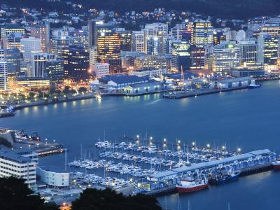 Oriental Bay and Wellington Harbour, Wellington, North Island, New Zealand, Pacific-Kober Christian-Photographic Print