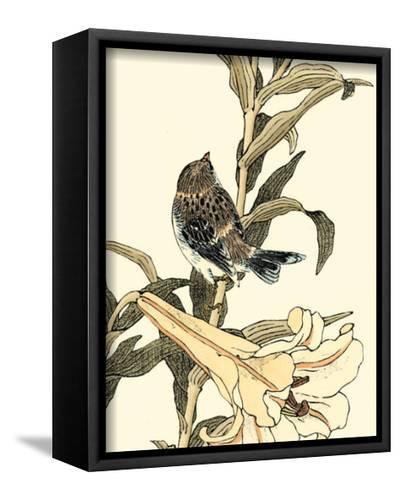 Oriental Bird on Branch II--Framed Canvas Print