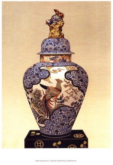 Oriental Blue Vase I--Art Print