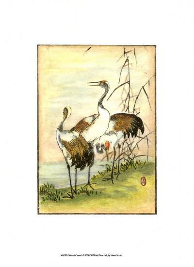 Oriental Cranes I--Art Print