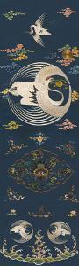 Embroidered Silk Chair Panel II, with White Cranes by Oriental School