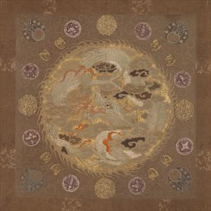 Embroidered Silk, Dragon on Brown by Oriental School