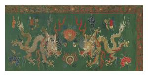 Silk Brocade Panel I, with Dragons on Green by Oriental School