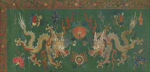 Silk Brocade Panel II, with Dragons on Green by Oriental School