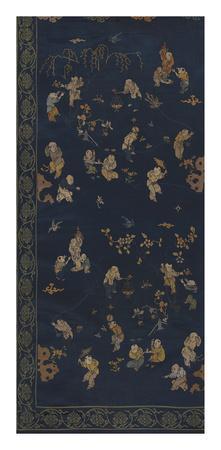 Silk Brocade, with 100 Children Design on Blue, Left