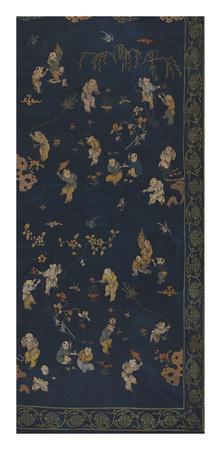 Silk Brocade, with 100 Children Design on Blue, Right