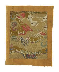 Tibetan Fragment, with Dragon by Oriental School