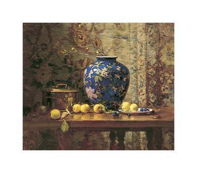 Oriental Vase with Crab Apples-Del Gish-Art Print