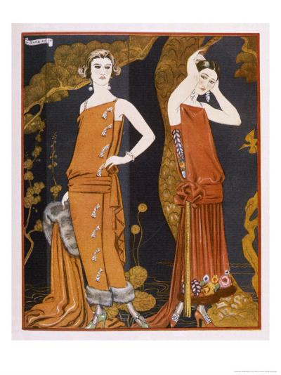 Orientally Inspired Gowns by Worth in Lacquer Reds-Georges Barbier-Giclee Print