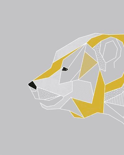 Origami Bear - Profile-Myriam Tebbakha-Art Print