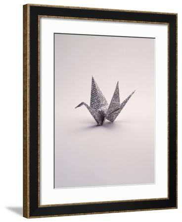 Origami Crane on White-Howard Sokol-Framed Photographic Print