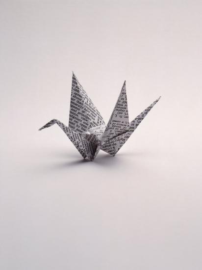Origami Crane on White-Howard Sokol-Photographic Print