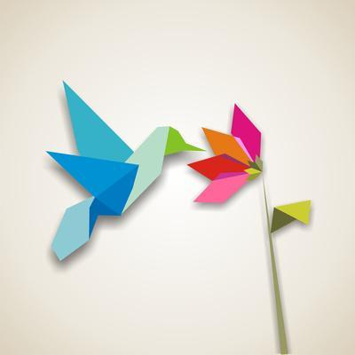 Origami Pastel Colors Hummingbird Vector File Available-Cienpies Design-Photographic Print