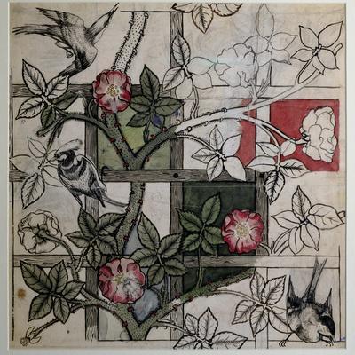 Original Artwork for 'Trellis' Wallpaper Design, 1862 (W/C on Paper)-William Morris-Premium Giclee Print