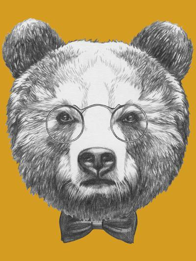 Original Drawing of Bear with Glasses and Bow. Isolated on Colored Background-victoria_novak-Art Print