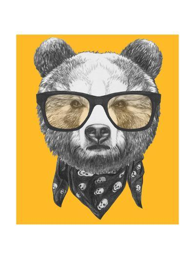 Original Drawing of Bear with Glasses. Isolated on Colored Background-victoria_novak-Art Print