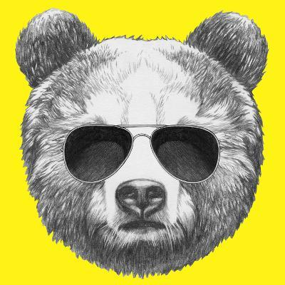 Original Drawing of Bear with Sunglasses. Isolated on Colored Background-victoria_novak-Art Print
