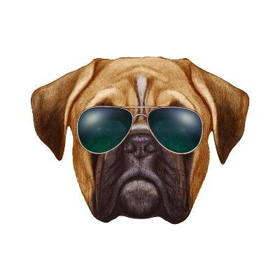 Original Drawing of Boxer Dog with Sunglasses. Isolated on White Background.-victoria_novak-Art Print