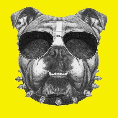 Original Drawing of English Bulldog with Collar and Sunglasses. Isolated on Colored Background-victoria_novak-Art Print