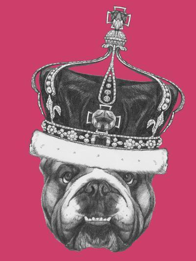 Original Drawing of English Bulldog with Crown. Isolated on Colored Background-victoria_novak-Art Print