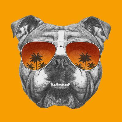 Original Drawing of English Bulldog with Mirror Sunglasses. Isolated on Colored Background.-victoria_novak-Art Print