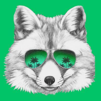Original Drawing of Fox with Mirror Glasses. Isolated on Colored Background-victoria_novak-Art Print