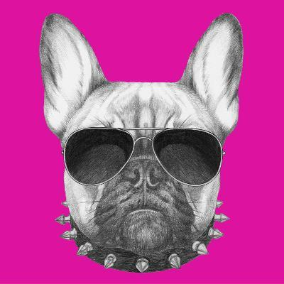 Original Drawing of French Bulldog with Collar and Sunglasses. Isolated on Colored Background.-victoria_novak-Art Print