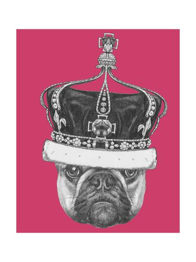 Original Drawing of French Bulldog with Crown. Isolated on Colored Background-victoria_novak-Art Print