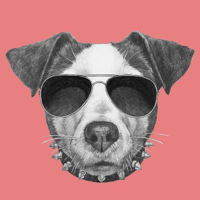 Original Drawing of Jack Russell with Collar and Sunglasses. Isolated on Colored Background-victoria_novak-Art Print