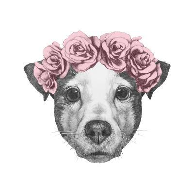 Original Drawing of Jack Russell with Floral Head Wreath. Isolated on White Background.-victoria_novak-Art Print