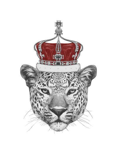 Original Drawing of Leopard with Crown. Isolated on White Background-victoria_novak-Art Print