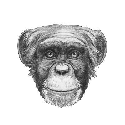 Original Drawing of Monkey. Isolated on White Background.-victoria_novak-Art Print