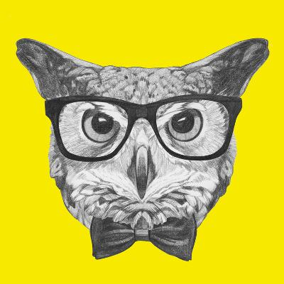 Original Drawing Of Owl With Glasses And Bow Tie Isolated On Colored Background Art Print By Victoria_novak Art Com
