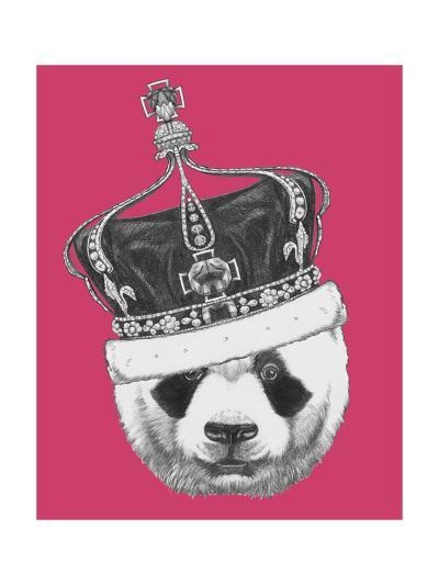 Original Drawing of Panda with Crown. Isolated on Colored Background-victoria_novak-Art Print
