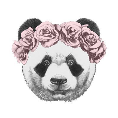 Original Drawing of Panda with Roses. Isolated on White Background-victoria_novak-Art Print