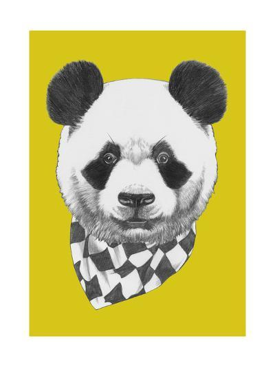 Original Drawing of Panda with Scarf. Isolated on Colored Background-victoria_novak-Art Print