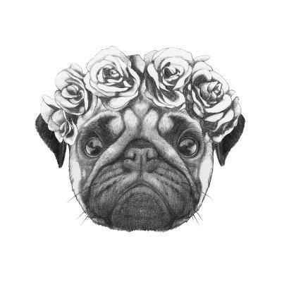 Original Drawing of Pug Dog with Floral Head Wreath. Isolated on White Background-victoria_novak-Art Print