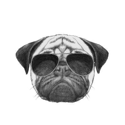 Original Drawing of Pug Dog with Sunglasses. Isolated on White Background-victoria_novak-Art Print