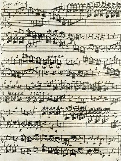 Original Manuscript of Bach's Eighth Invention--Giclee Print